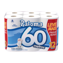 Papel Higiênico Paloma Folha Simples/Neutro 60m com 12 Rolos