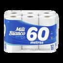 Papel Higiênico Mili Bianco Neutro Folha Simples 60m Leve 12un, Pague 11un